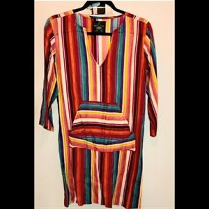AREA COLORFUL STRIPES LONG SLEEVES DRESS